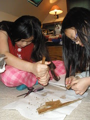 Sophia and Olivia Dissecting a Cattail
