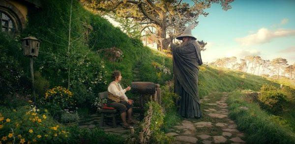 Bilbo Baggins confers with Gandalf the Grey (Ian McKellen) in THE HOBBIT: AN UNEXPECTED JOURNEY.