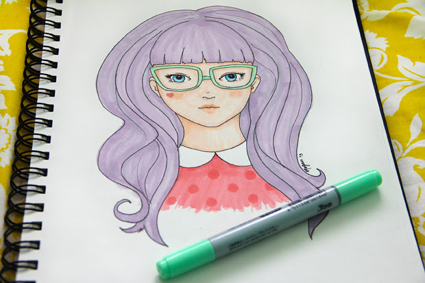blog wanderlust whimsy megan drawing purple hair illustration