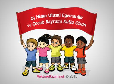 Vektörel çizim 23 Nisan Ulusal Egemenlik Ve çocuk Bayramı Görselleri