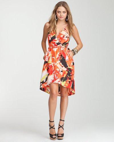 Bebe Hi-Lo Surplice Print Dress TROPICAL PARADISE 5 Size Small