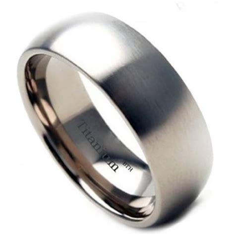 mens brushed titanium wedding band ring mm