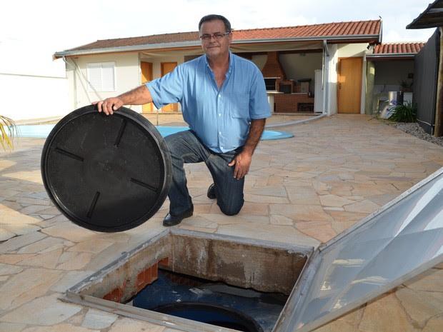 Emílio Assoni criou sistema de captação de água em Piracicaba (Foto: Marcello Carvalho/G1)