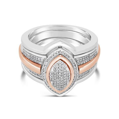 9ct Pink Gold & Silver Tripset Diamond Ring   NWJ