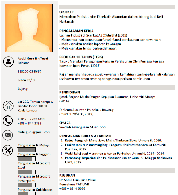 contoh resume fresh graduate civil engineering  best
