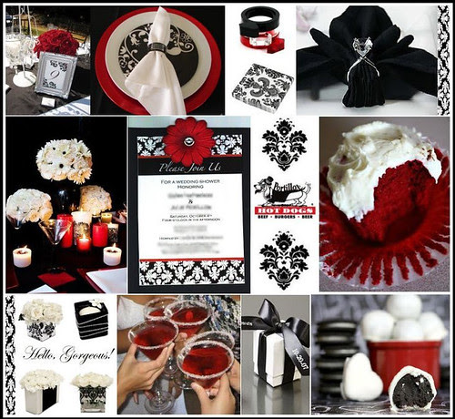 thriftingbrisbane: black and white wedding with red accents