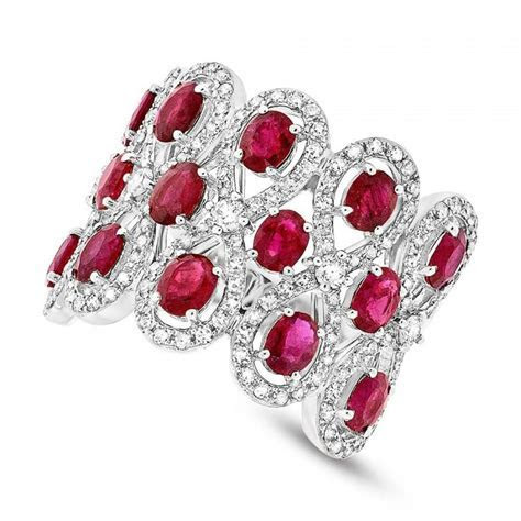 Ruby & Diamond 14k White Gold Ring   Wedding Rings