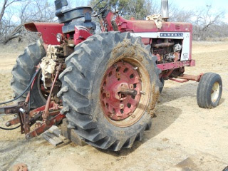 Farmall 806 Tractor Axle Replaced and Wheel Installed
