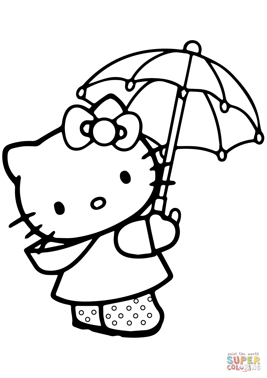 Lovely Hello Kitty Under The Umbrella Coloring Page Free Printable