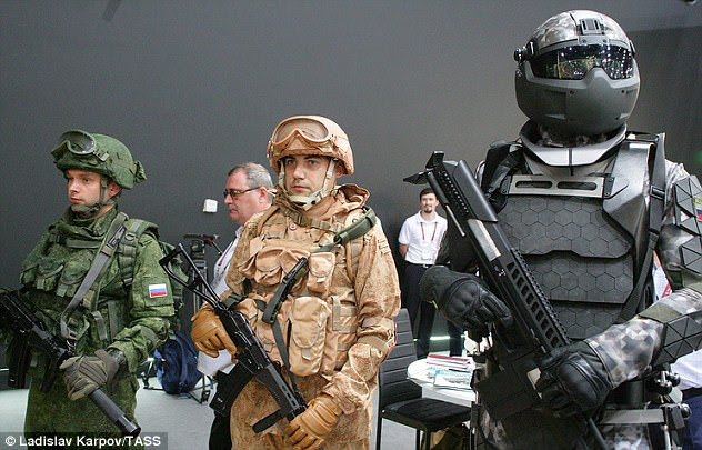 The three generation's of Russia's RATNIK combat gear are shown here