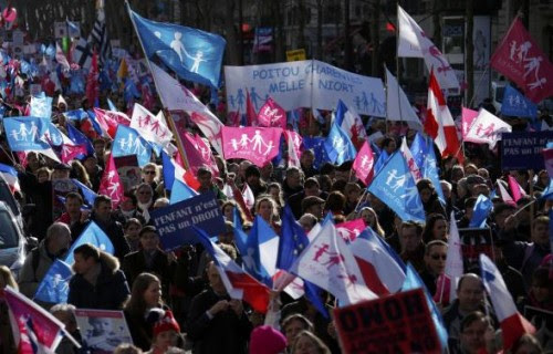"People wave trademark pink. blue and white flags during a protest march called, ""La Manif pour Tous"" (Demonstration for All) against France's legalisation of same-sex marriage and to show their support of traditional family values, in Paris"