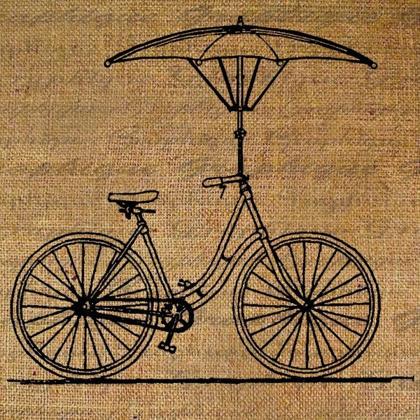 Burlap Digital Download Antique Bike Bicycle Umbrella Parasol Whimsical Digital Collage Sheet Fabric Transfer Pillows Totes Tea Towels 1049