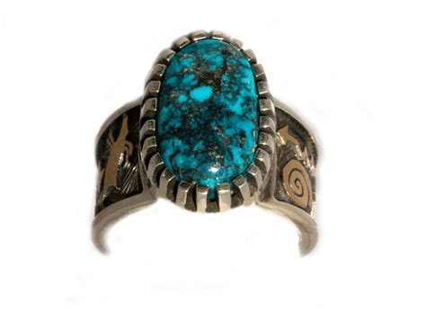 Morenci Turquoise Petroglyph Ring by Navajo Artist Arland Ben