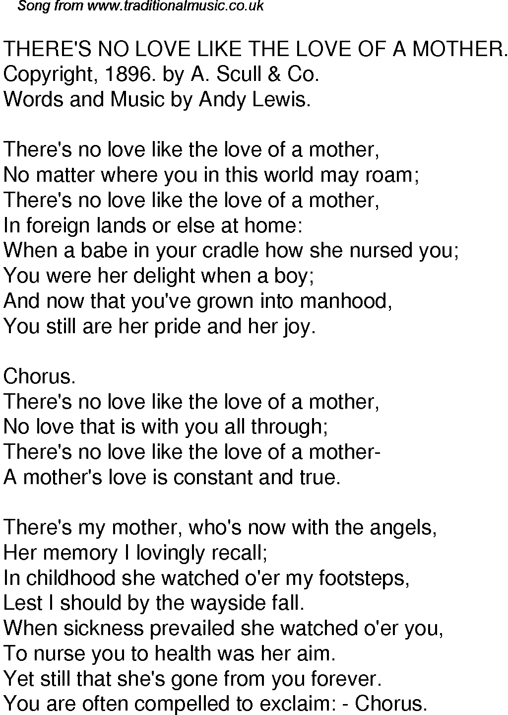 Old Time Song Lyrics For 52 Theres No Love Like The Love Of A Mother