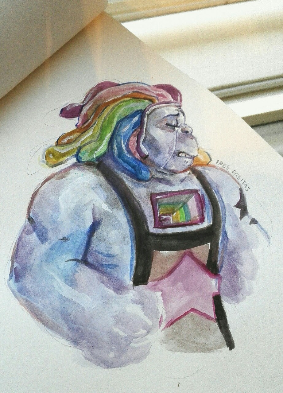 """They are all dead"" (Ines) Some bismuth watercolor painting. Can't wait for Steven Universe to start!!!"