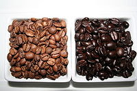 A side by side comparison of beans which have ...