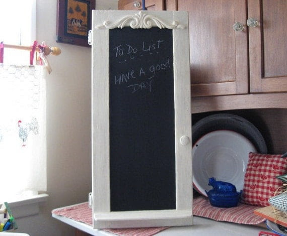 Repurposed Old Cupboard Door Chalkboard with Shelf and Eraser