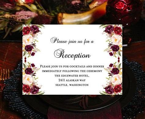 Wedding Reception Invitations Burgundy, Red, Blush Pink