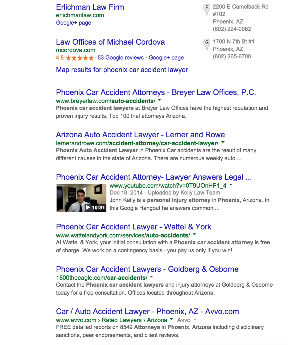 Phoenix Car Accident Lawyer Google Search Results Over Time  Wojdylo Social Media