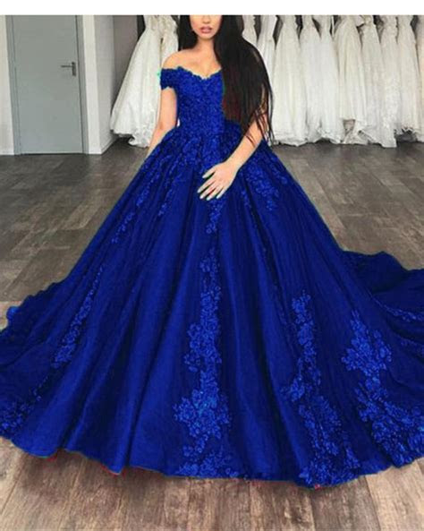 Royal Blue Ball gown Lace Wedding Dresses Prom Reception