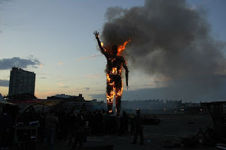 Waste man burning on Margate beach