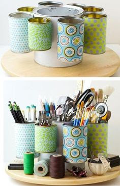 Tin Cans Crafts Ideas. I believe it is on a lazy susan.