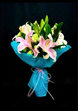Blue Lily Hand Bouquet