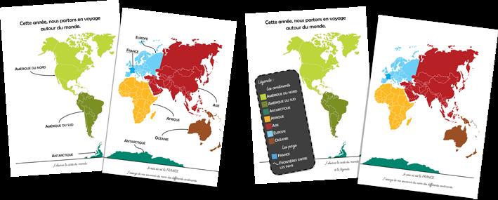 carte du monde cahier de vie