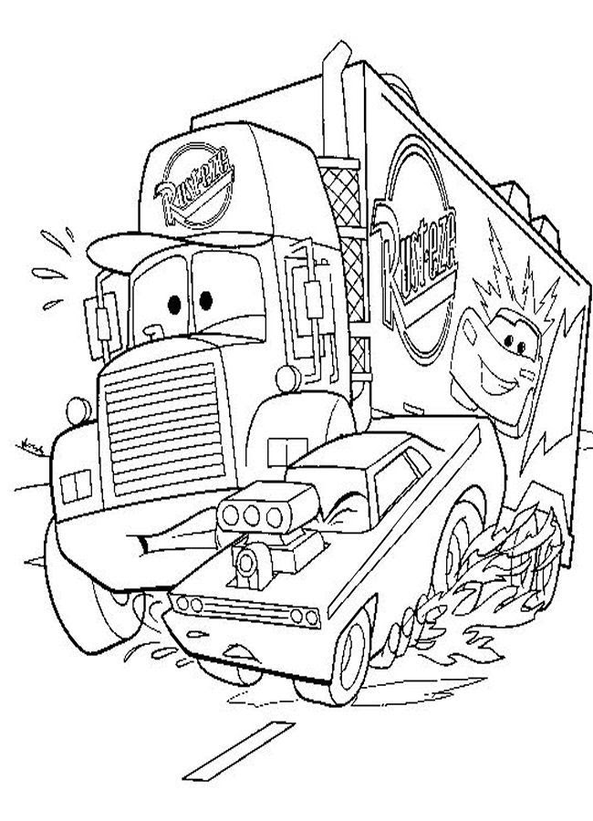 Funny Disney Car Coloring Page For Kids  Coloring Pages