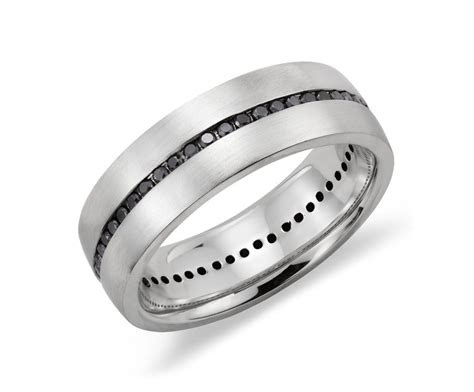 channel set black diamond mens wedding ring  sterling