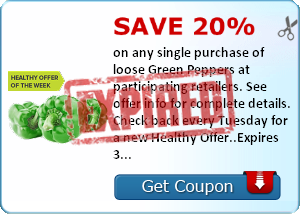 Save 20% on any single purchase of loose Green Peppers at participating retailers. See offer info for complete details. Check back every Tuesday for a new Healthy Offer..Expires 3/3/2014.Save 20%.
