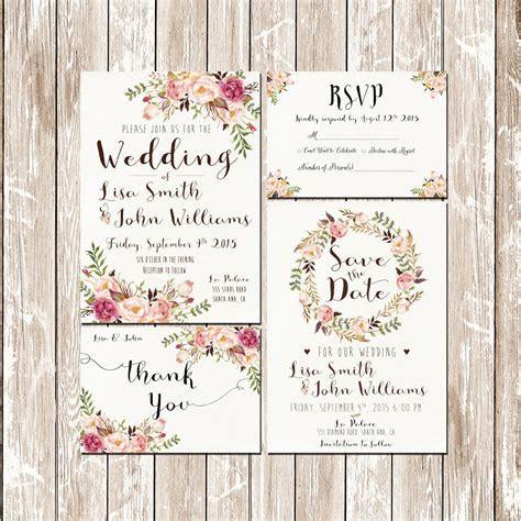 Invitation kit Wedding Invitation Pink Floral rustic