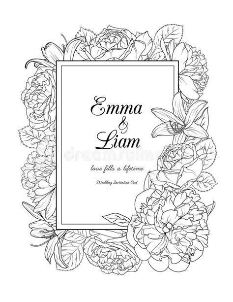 Floral Frame Design Wedding Invitation Card Stock Vector