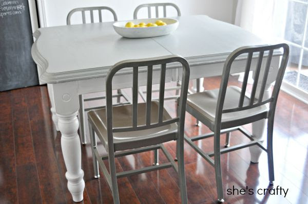farmhouse kitchen table, gray and white table