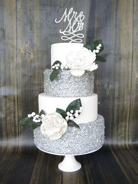 4 tier wedding cake, silver edible confetti/sequins