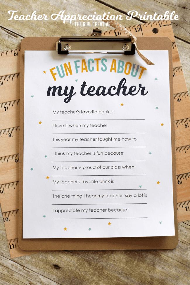 Teacher Appreciation Printable: Fun Facts About My Teacher - The Girl Creative