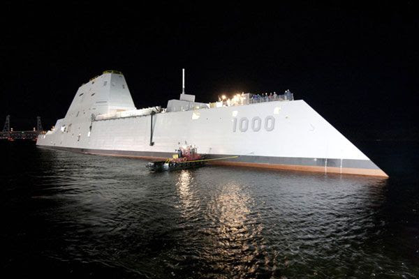The USS Zumwalt is floated out of dry dock at the Bath Iron Works shipyard in Maine, on October 28, 2013.