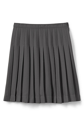Girls' Plus Solid Pleated Skirt (Below The Knee) - Gray, 14