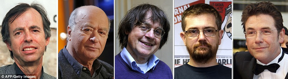 Faces of the victims: Among the journalists killed were (l to r) Charlie Hebdo's deputy chief editor  Bernard Maris and cartoonists Georges Wolinski, Jean Cabut, aka Cabu, Stephane Charbonnier, who is also editor-in-chief, and Bernard Verlhac, also known as Tignous