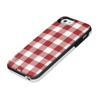 Red and Transparent Gingham Uncommon Power Gallery™ iPhone 5 Battery Case