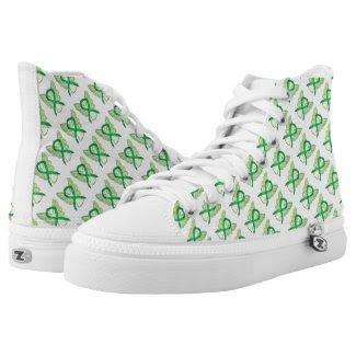 Green Awareness Ribbon Angel Custom High Tops Printed Shoes