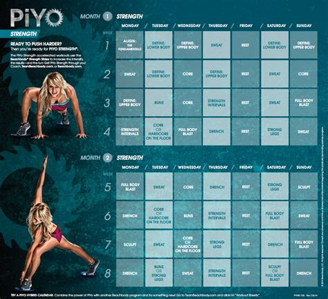 piyo strength workout calendar fitness  home piyo