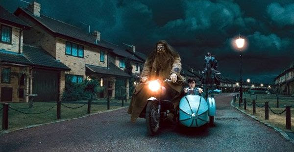 Rubeus Hagrid attempts to um, fly Harry Potter to safety on Hagrid's motorcycle in Part 1 of HARRY POTTER AND THE DEATHLY HALLOWS.