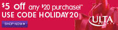 $5 off $20 with code HOLIDAY20 from 10/31-12/25