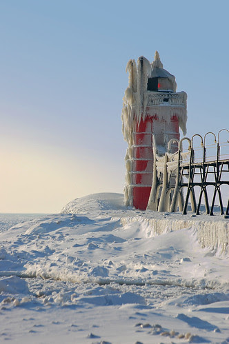 South Haven Lighthouse in Winter