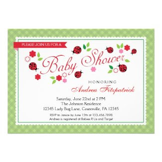 Lady Bug Baby Shower Invitation