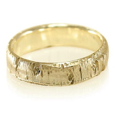 Aspen Bark Yellow Gold Mens Wedding Band In 10k Gold, 14k