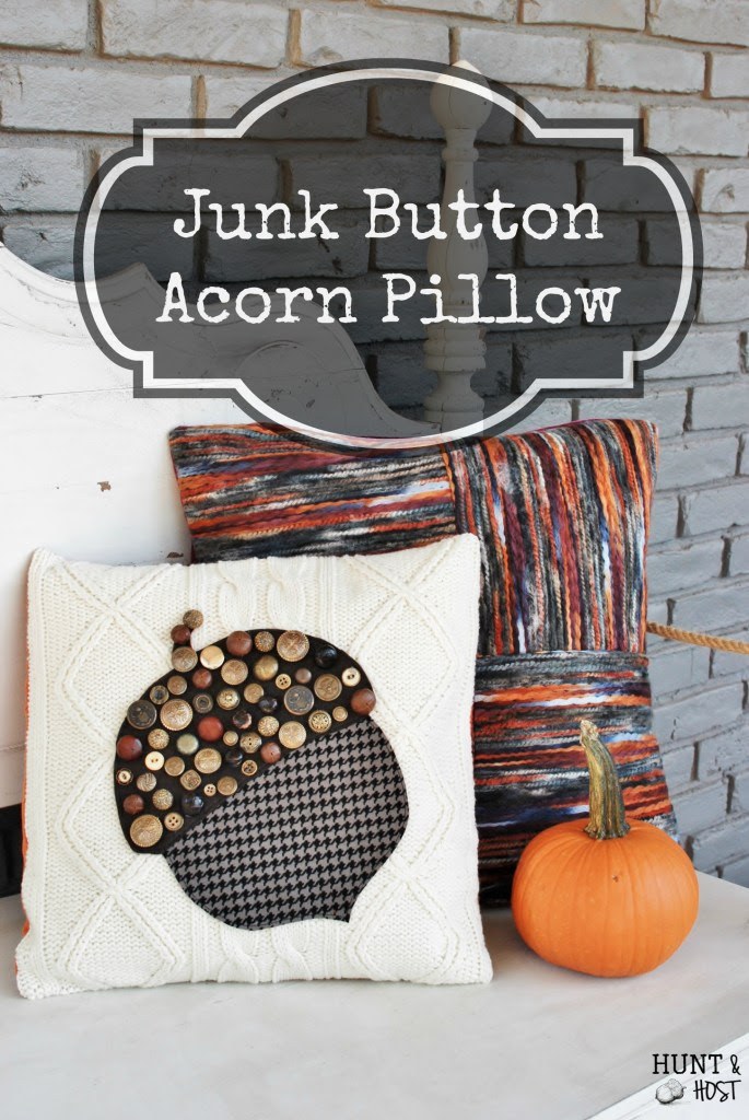 vintage junk button acorn pillow