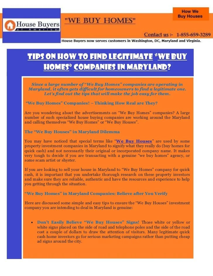 """Tips on How to Find Legitimate """"We Buy Homes"""" Companies in Maryland?"""