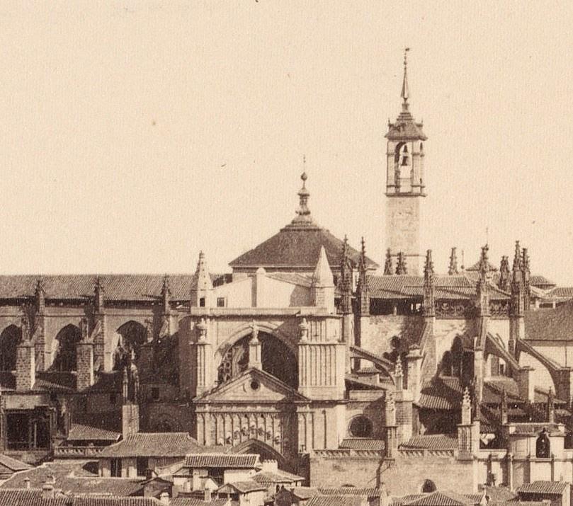 Catedral de Toledo en 1857 con la Torre del Reloj y el cimborrio aún en pie. Fotografía de Charles Clifford (detalle)